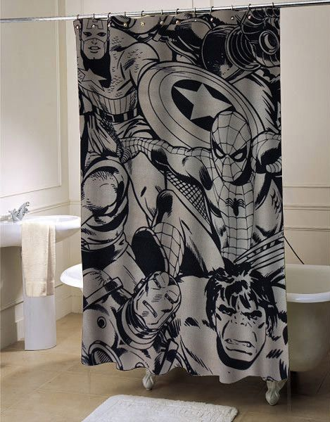Marvel Super Heroes Shower Curtain Superhero Shower Curtain Superhero Bathroom Boys Shower Curtain