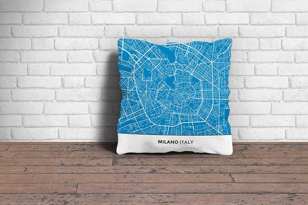 Map Throw Pillow of Milano Italy Simple Blue Contrast