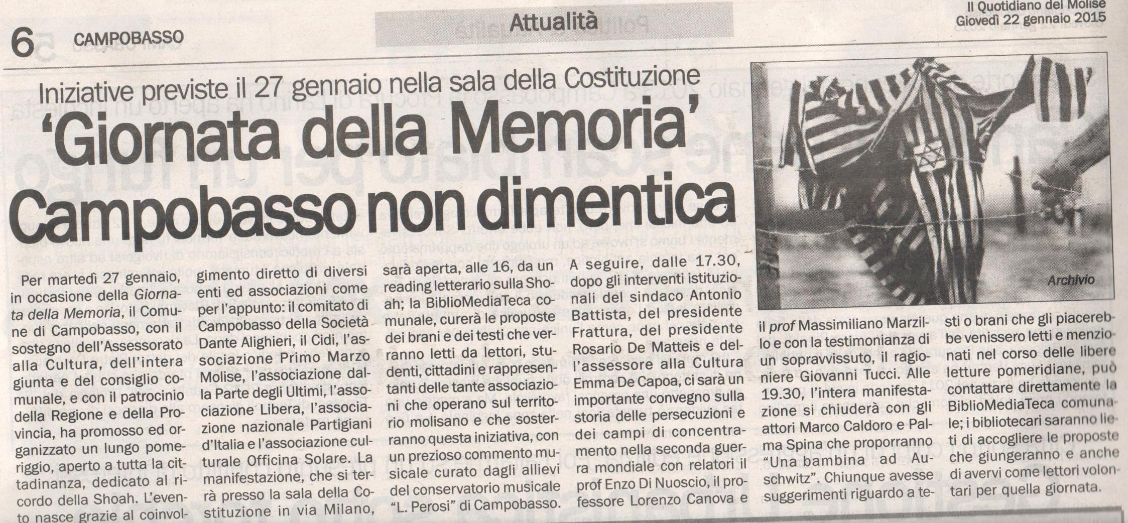 Giornata della Memoria 2015. Articolo Quotidiano del Molise