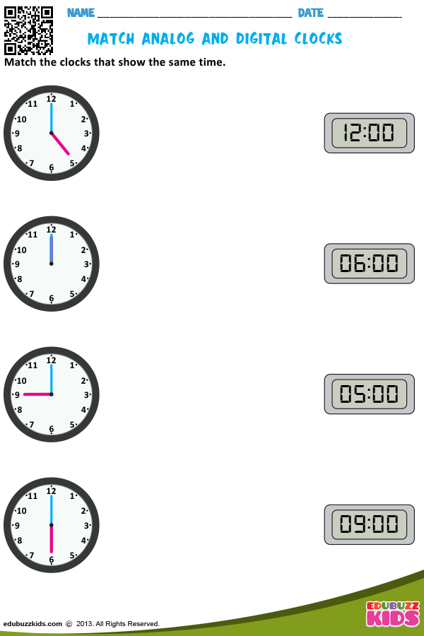 Match Analog And Digital Clocks Telling Time Worksheets Kindergarten Telling Time Time Worksheets