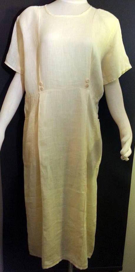 Flax Jeanne Engelhart Pale Yellow Dress Spring Summer Big Pockets Shift Linen S #Flax #Loosefittingshiftdress #WeartoWork