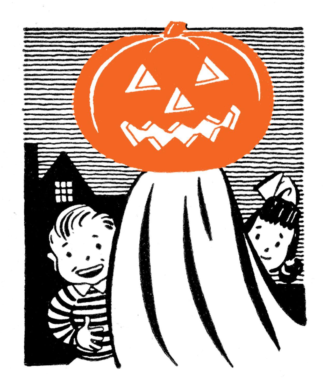 Retro Clip Art Pumpkin Head Ghost with Kids