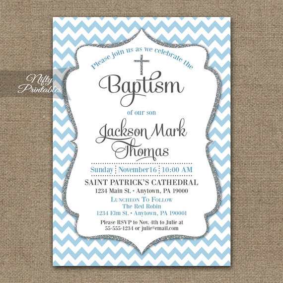 Baptism Invitations Printable Baby Blue Chevron Baptism Invitation