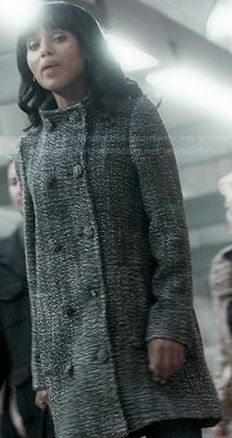 Olivia's grey double breasted funnel coat on Scandal.  Outfit Details: http://wornontv.net/20518/ #Scandal
