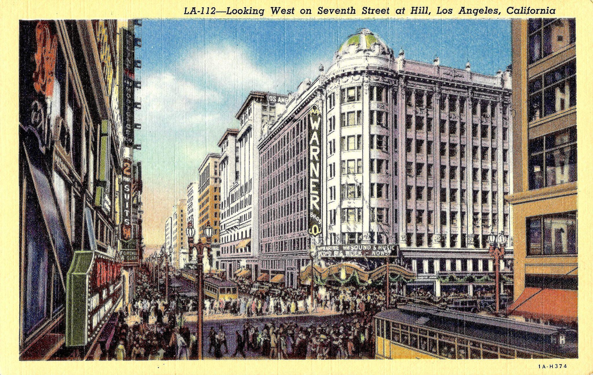 Vintage Postcard Los Angeles Walking Tour Los Angeles History Downtown Los Angeles