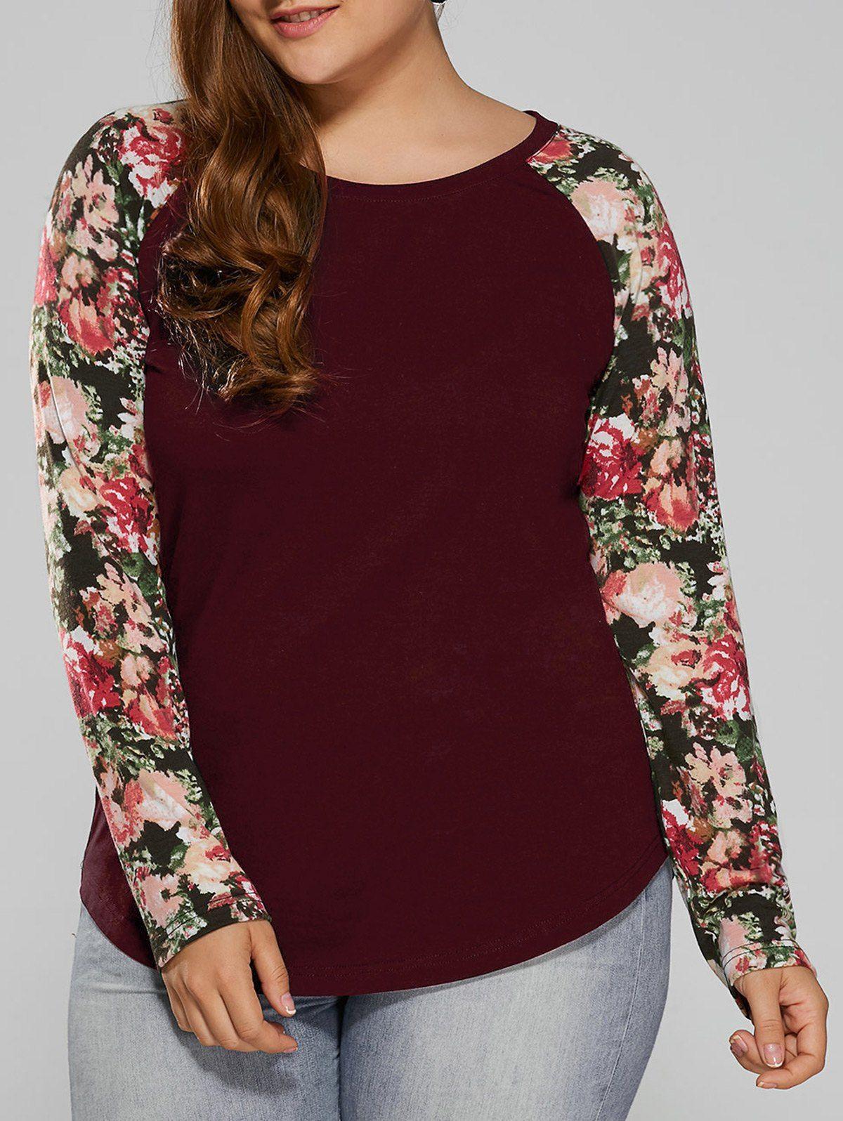 4ef2727e9 Plus Size Raglan Sleeve Floral T-Shirt | Fashion For Zoe & Shellie ...