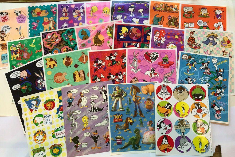 Hallmark Stickers 22 Sheets Disney Looney Tunes Pooh Snoopy