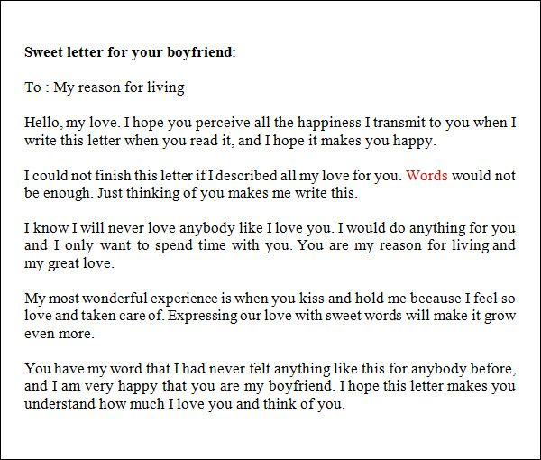 Sample Love Letters To Boyfriend   Free Documents In Word Pdf