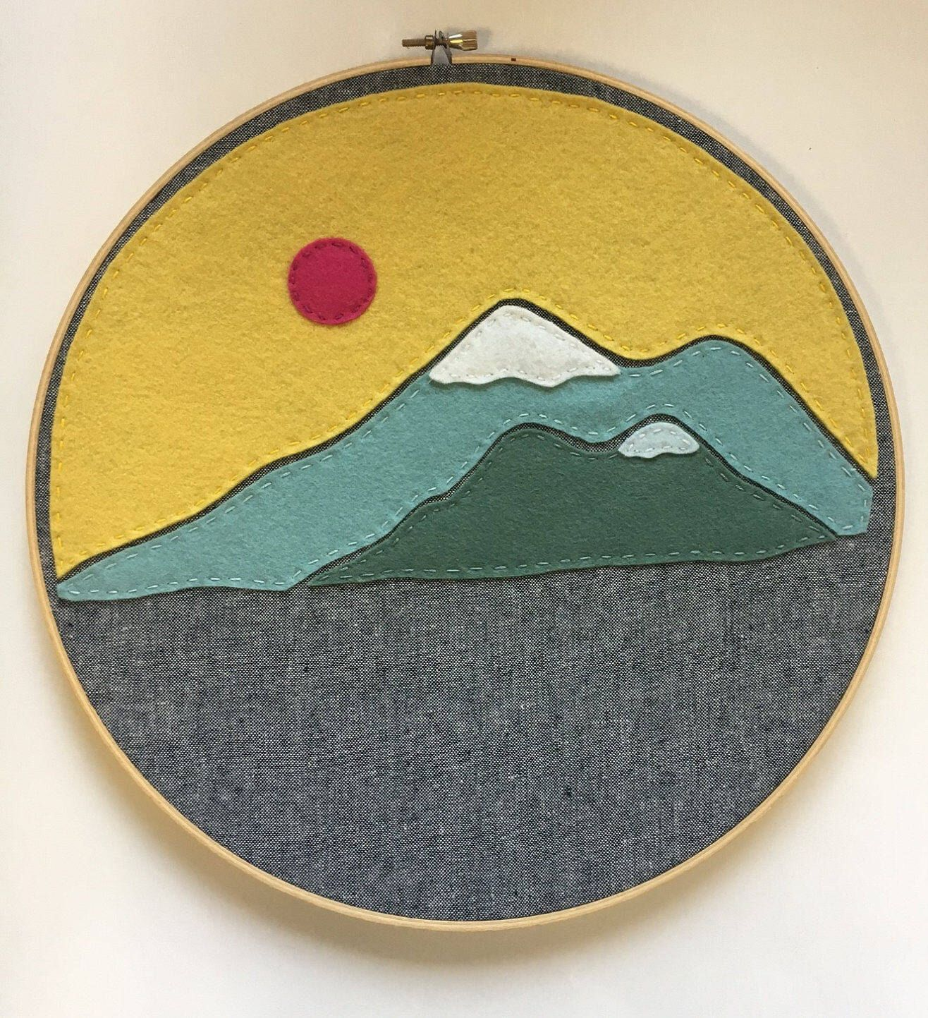 Embroidery Hoop Art, Wall Art, Felt, Mountains, Mountain Range ...