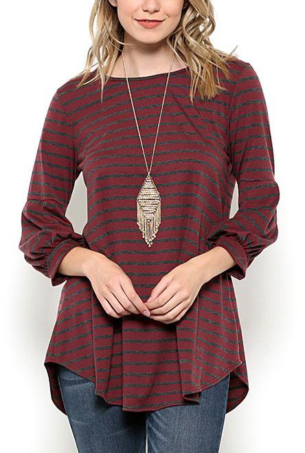 Wine Stripe Puff-Sleeve Tunic