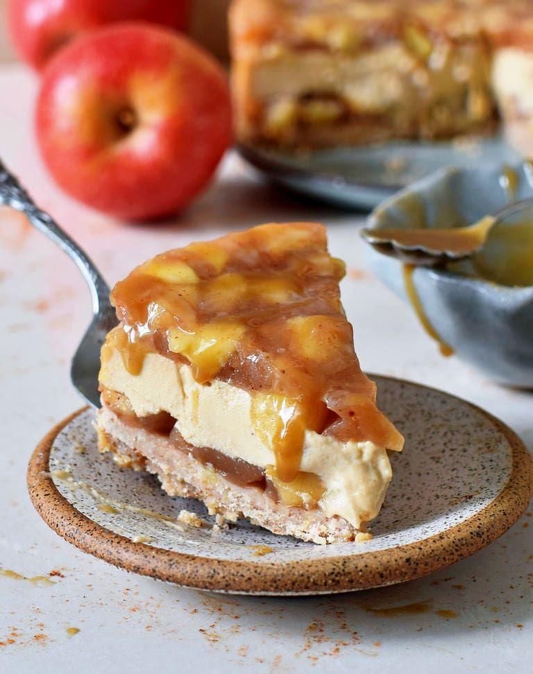 Karamell-Apfel-Käsekuchen Rezept   vegan, glutenfrei - Elavegan