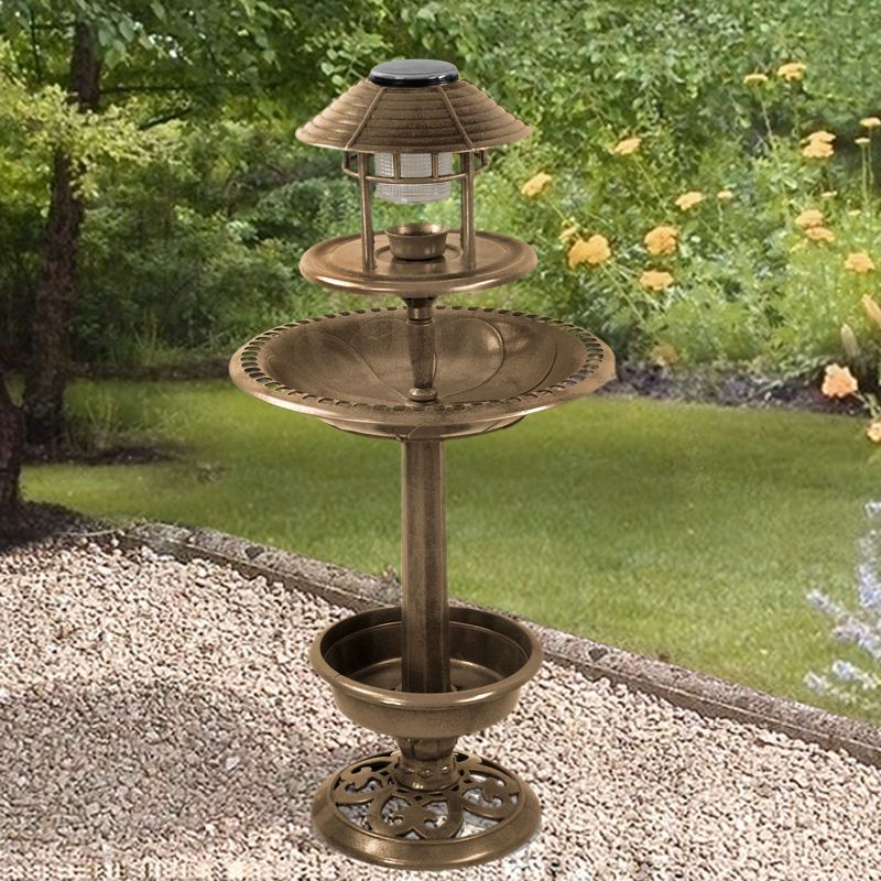 New ORNAMENTAL BIRD HOTEL FEEDER BATH SOLAR LIGHT GARDEN BIRDS TABLE ...