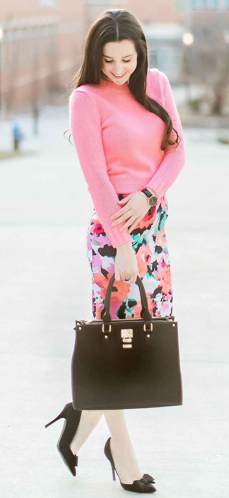 8029236b11a72 Colorful work outfit idea | Watercolor floral pencil skirt from The Mint  Julep Boutique, pink J.Crew Factory crewneck teddie sweater, black bow  pumps, ...