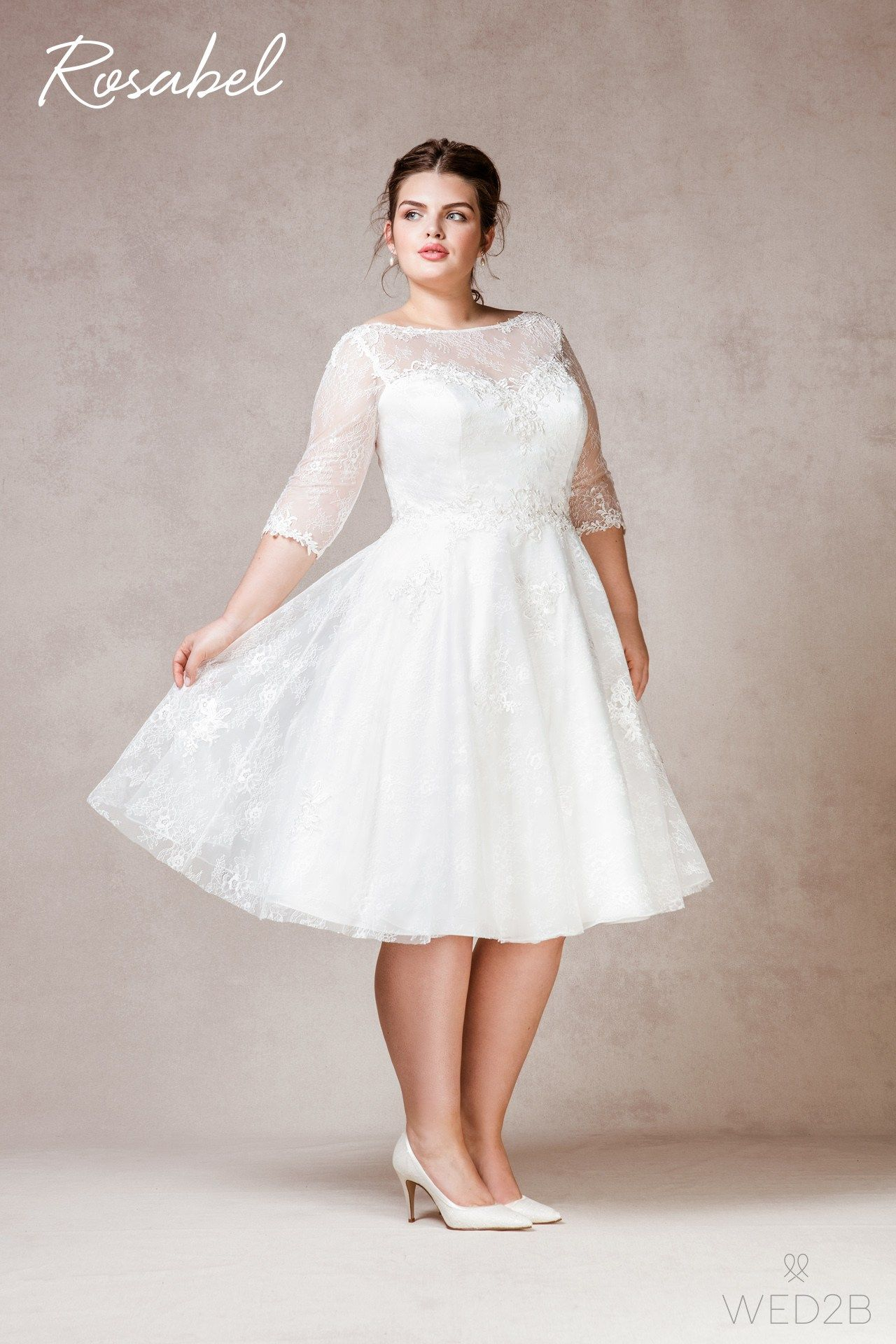 Plus Size Wedding Dresses With Sleeves Tea Length Vosoicom ...