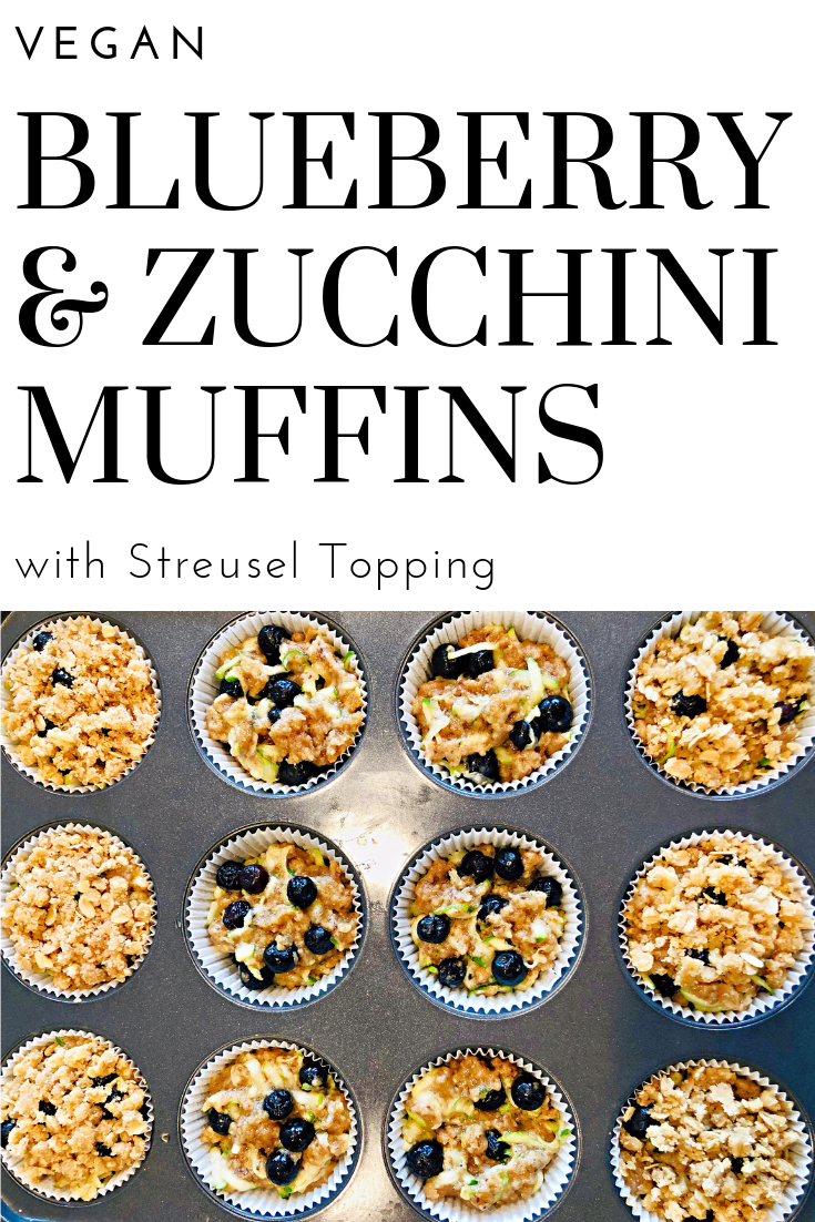 blueberry and zucchini muffins with streusel topping