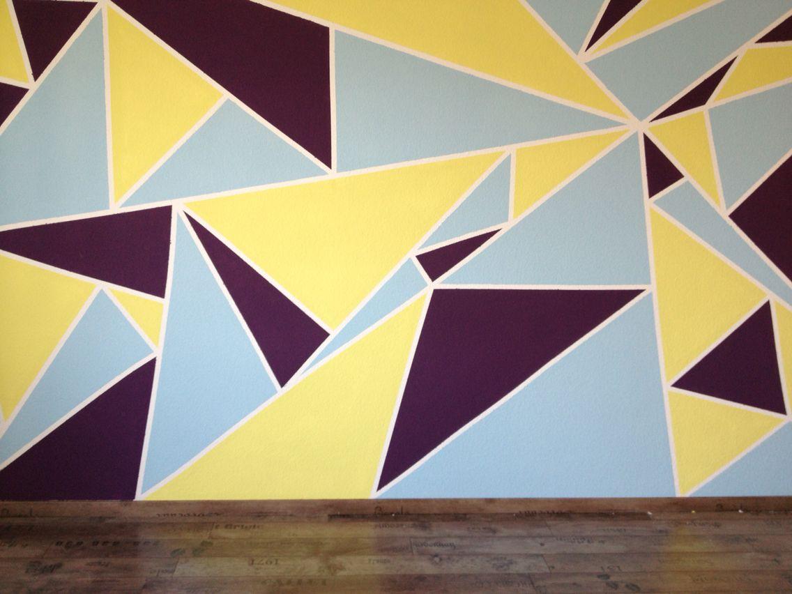 Dreiecke Wandbild Wandgestaltung Wand malen  streichen Lila grn blau DIY  Tina in 2019