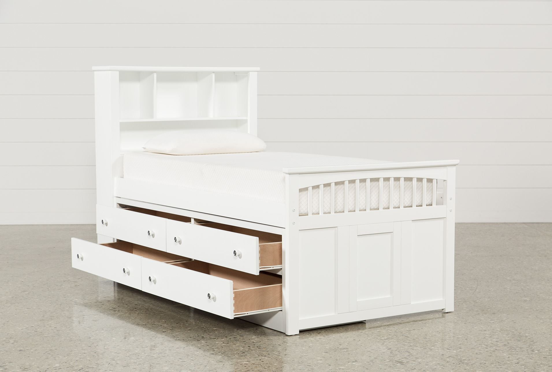 twin captains bed with double 4 drawer unit bayfront white twin