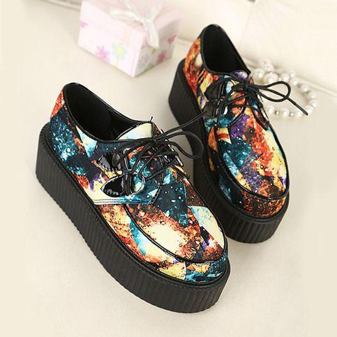 Star pattern Platform shoes from Cute Kawaii