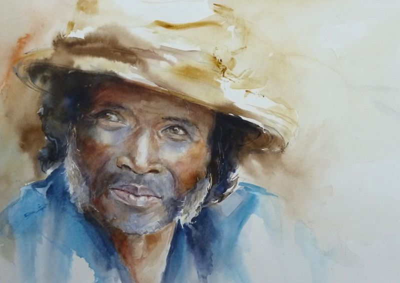 Joe Aquarelle De Monique Clin Portrait Peinture Portraits