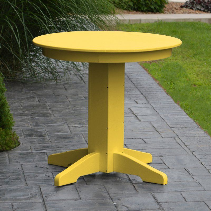 A & L Furniture Poly 33 in. Round Outdoor Dining Table - 4140-WITHOUT HOLE-LY LEMON YELLOW
