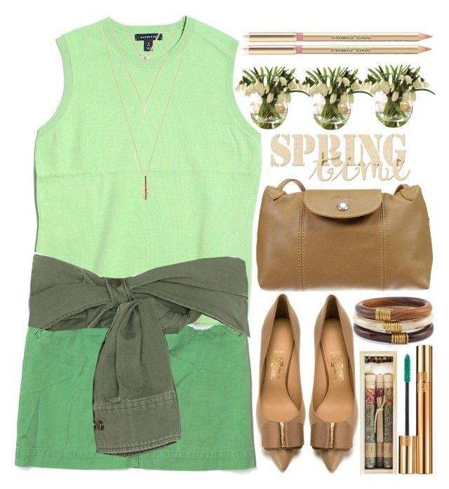 """""""Spring is in the air"""" by grozdana-v ❤ liked on Polyvore featuring J.Crew, Lands' End, Faith Connexion, Jules Smith, Salvatore Ferragamo, Longchamp, Chico's, Yves Saint Laurent, Truly Aesthetic and Dolce&Gabbana"""
