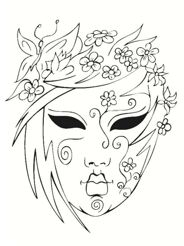 Картинка для раскрашивания театральная маска