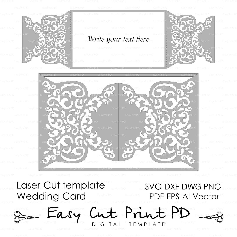 Wedding Invitation Pattern Card Template Shutters Gates Doors Lace