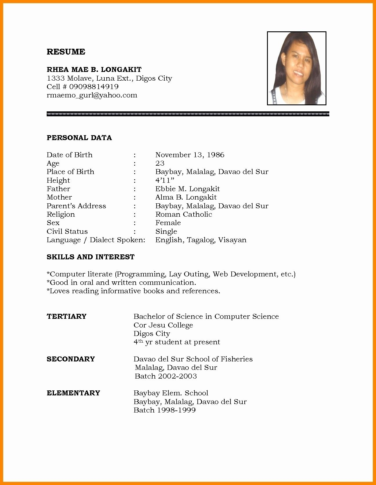 Marriage Resume Format Word File Inspirational Biodata 2 Desktop