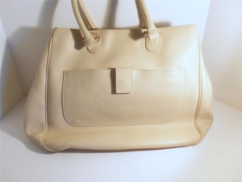 Authentic CRISTIAN Beige Genuine Leather Bag Purse Large Tote Made in Italy EUC