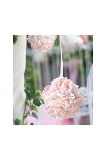 Boule de Roses mousse rose pale Décoration église perles Déco