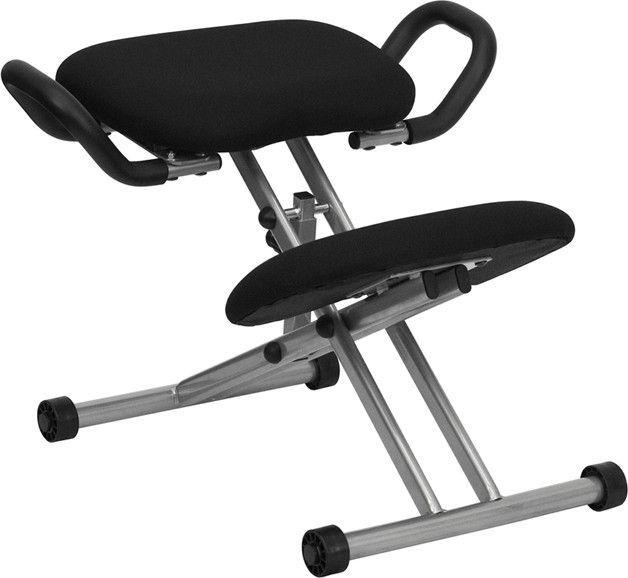Ergonomic Kneeling Chair In Black Fabric With Handles Ergonomic