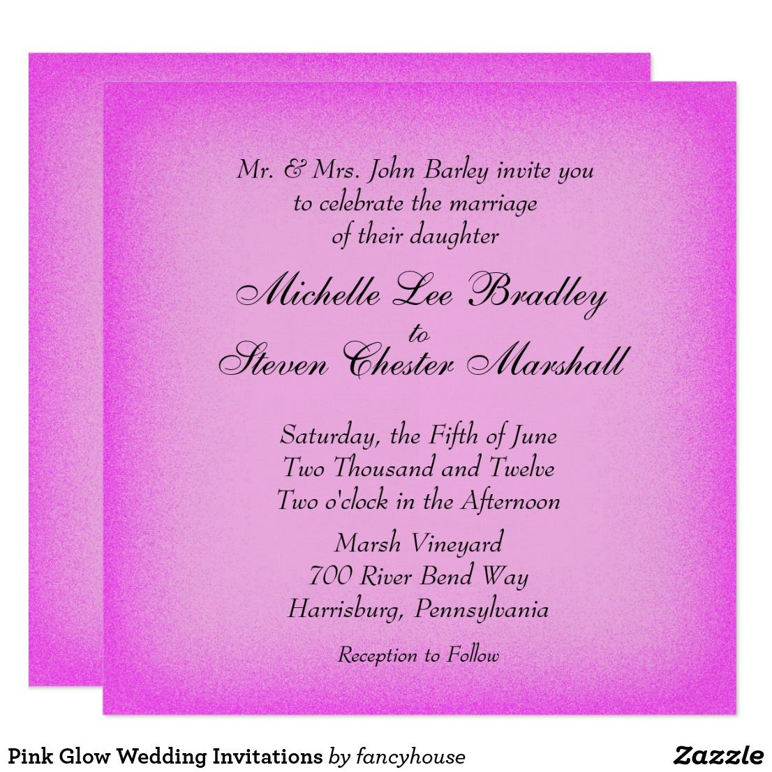 Pink Glow Wedding Invitations 40 Off Leatherwooddesign Pink