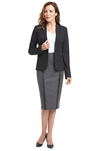 Rekucci Collection Womens One Button Tailored Stretch Wool Suit