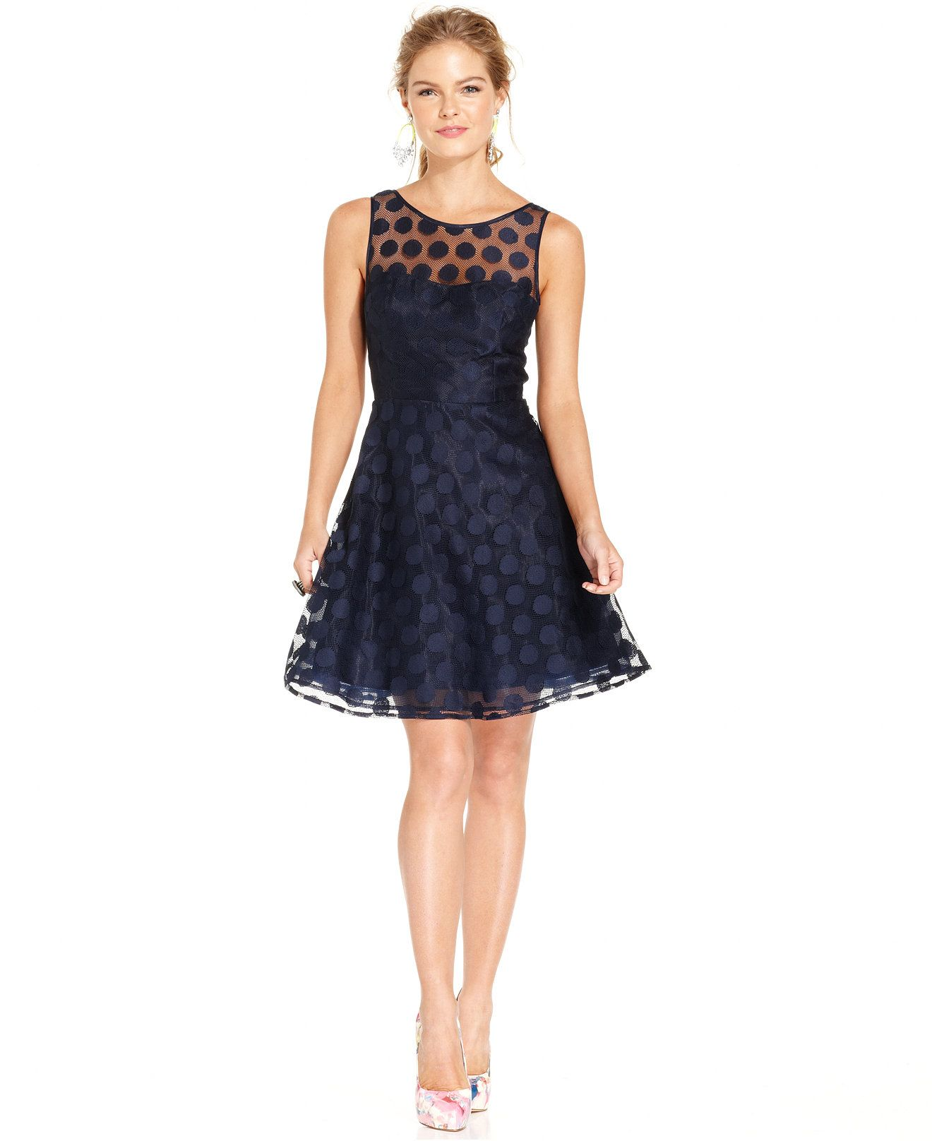 612f25dbd1b Betsey Johnson Sleeveless Illusion Polka-Dot Dress - Rehearsal Dinner -  Women - Macy s