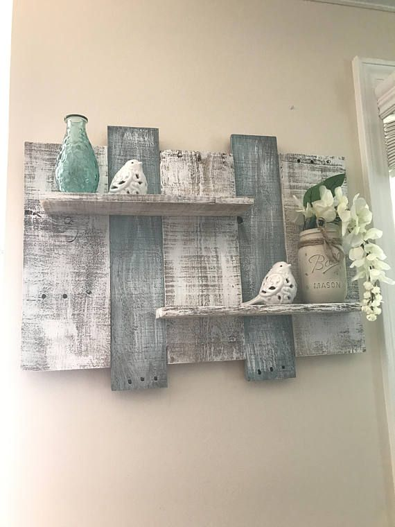 rustic green beach themed bedroom | Rustic pallet shelf pallet shelf bathroom shelf white ...