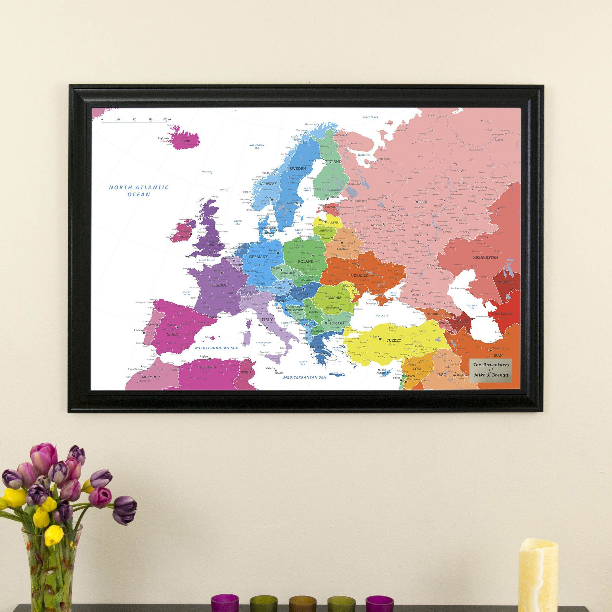 Colorful Europe Travel Map with Black Frame