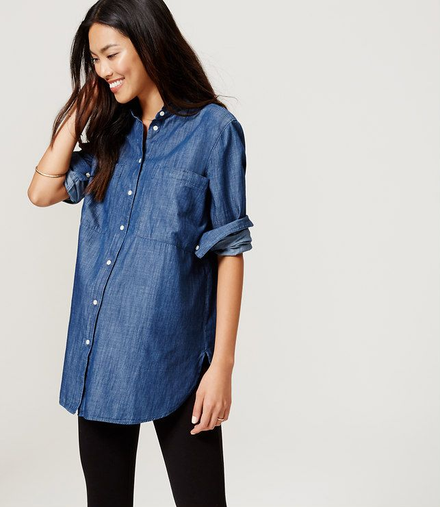 3dac0dfcc1cb6 Primary Image of Maternity Chambray Tunic Softened Shirt | MATERNITY ...