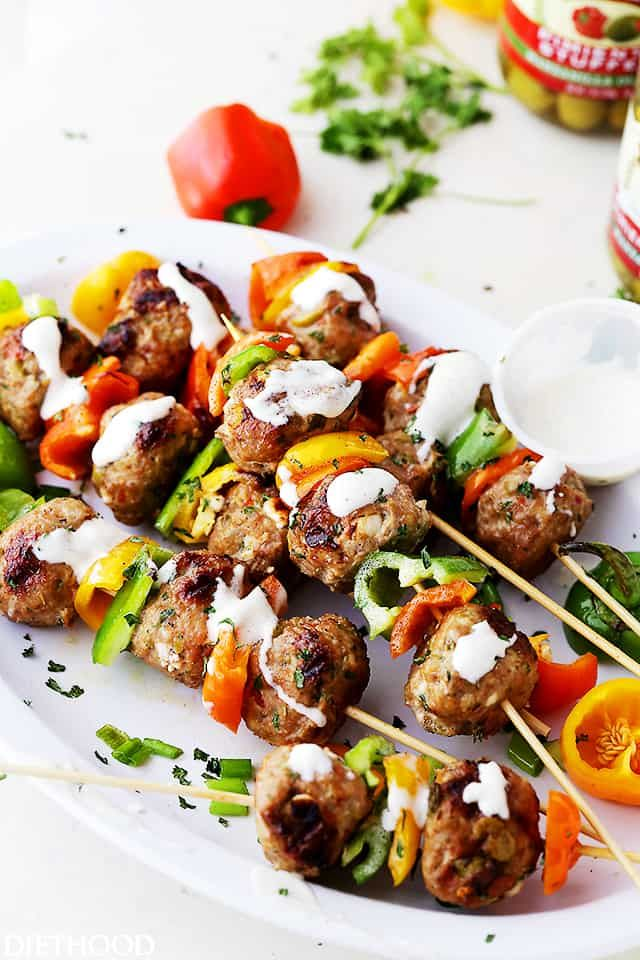 grilled mediterranean turkey meatballs skewers juicy grilled turkey meatballs stuffed with olives and feta makes a delicious dinner but are also great