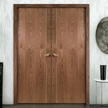 Sanrafael Lisa Flush Double Fire Door - L80 Style Walnut Prefinished. #walnutdoubledoors #internalwalnutdoors #walnutdoors