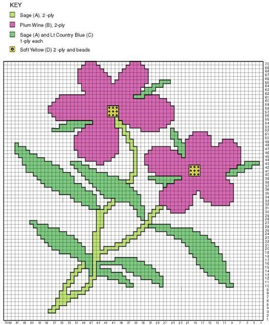 Tunisian Flower Shawl Flower Chart Tunisian Crochet And Flower
