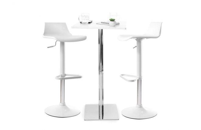 Lot de 2 tabourets de bar design blanc KRONOS