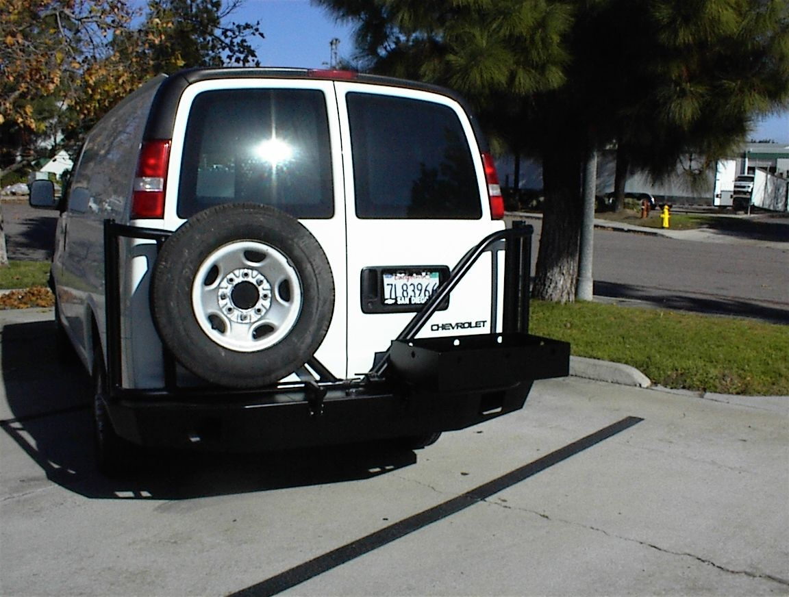 Chevy van with aluminess rear bumper with swing arms for tire and chevy van with aluminess rear bumper with swing arms for tire and standard open box sciox Choice Image