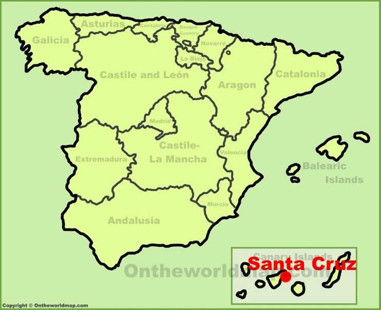 Santa Cruz De Tenerife Location On The Spain Map Map Of Spain Ibiza Location Map