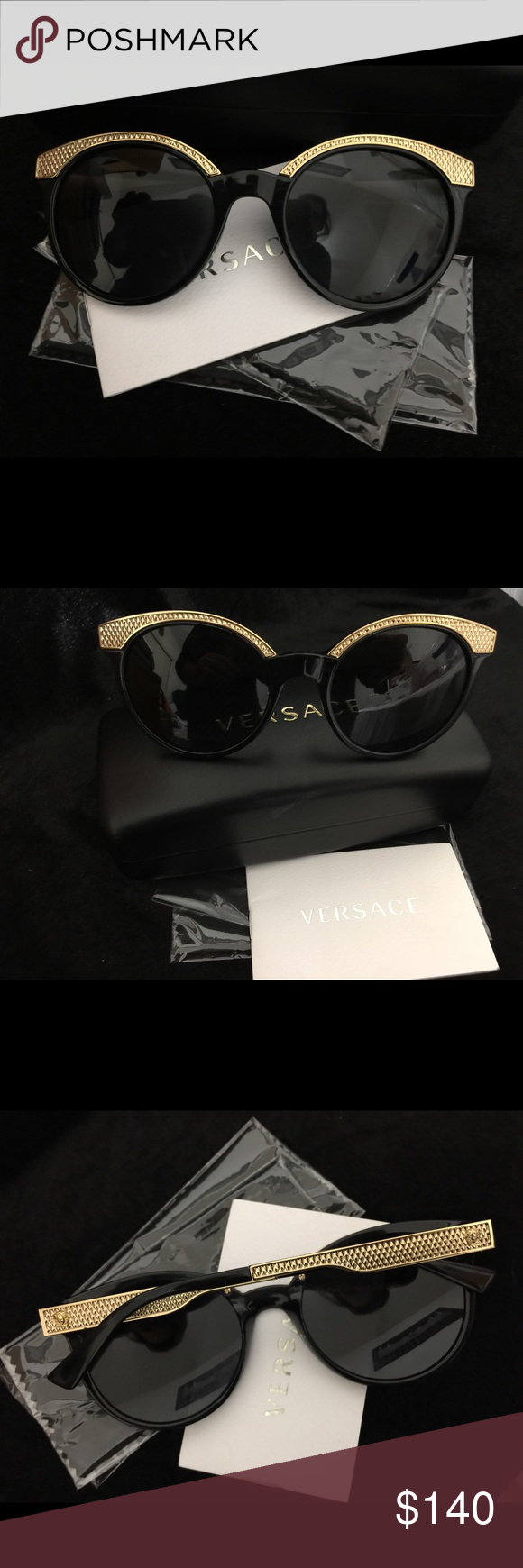 837c00fd4 Versace ladies sun glasses price reduction Beautiful Versace sun glasses in  black and gold color, gently used in perfect good condition .
