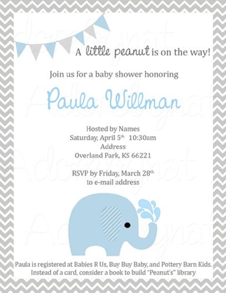 Elephant Baby Shower Invitations Boy Template Party Invitation