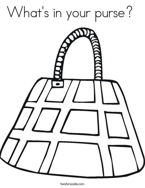 Purse with Checkered Pattern Coloring Page (With images