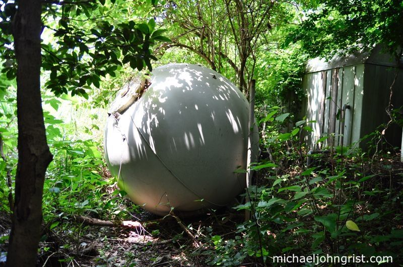 A fallen orb off of a water tower