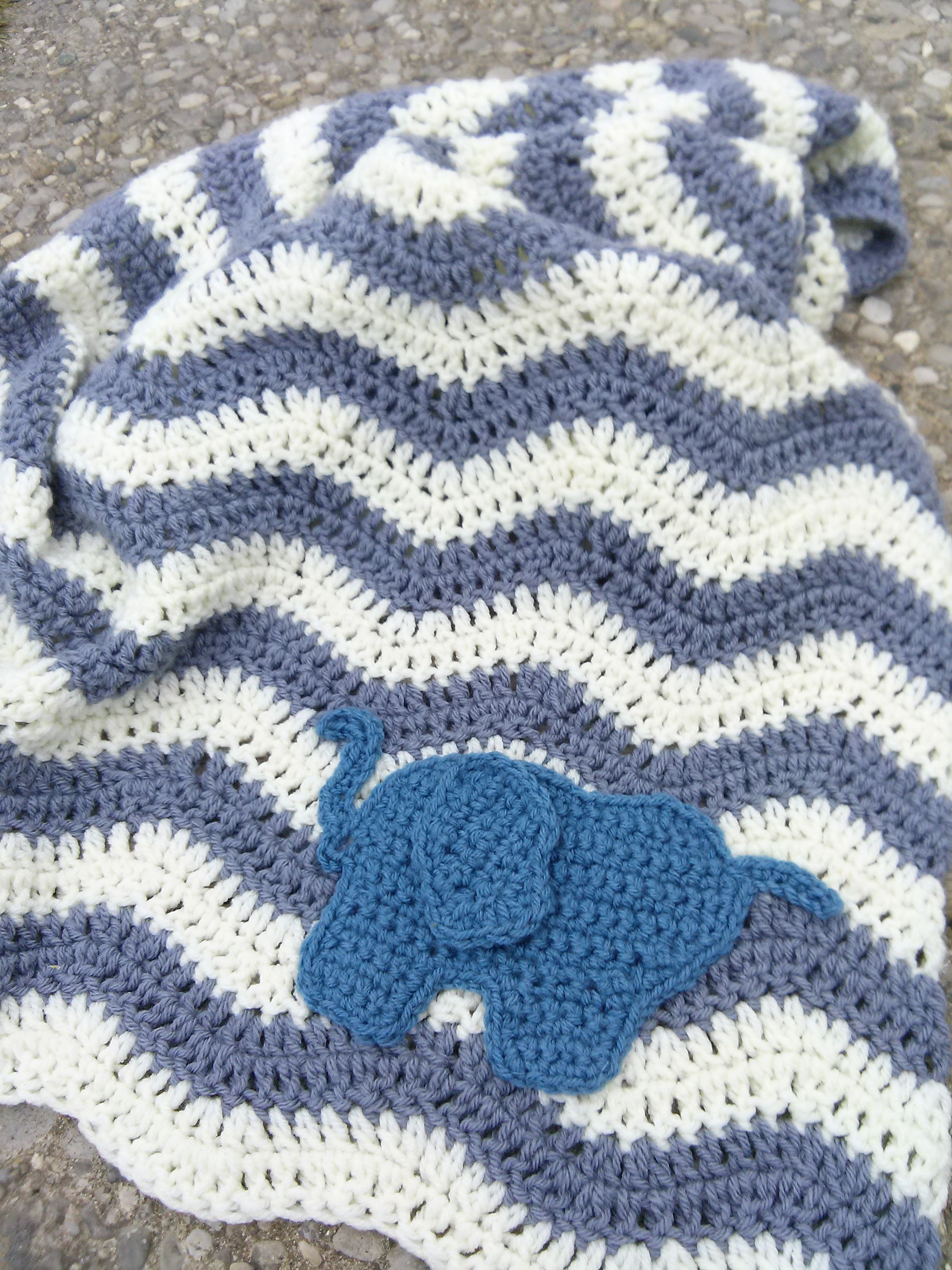 Crochet grey and white ripple chevron baby blanket with elephant ...