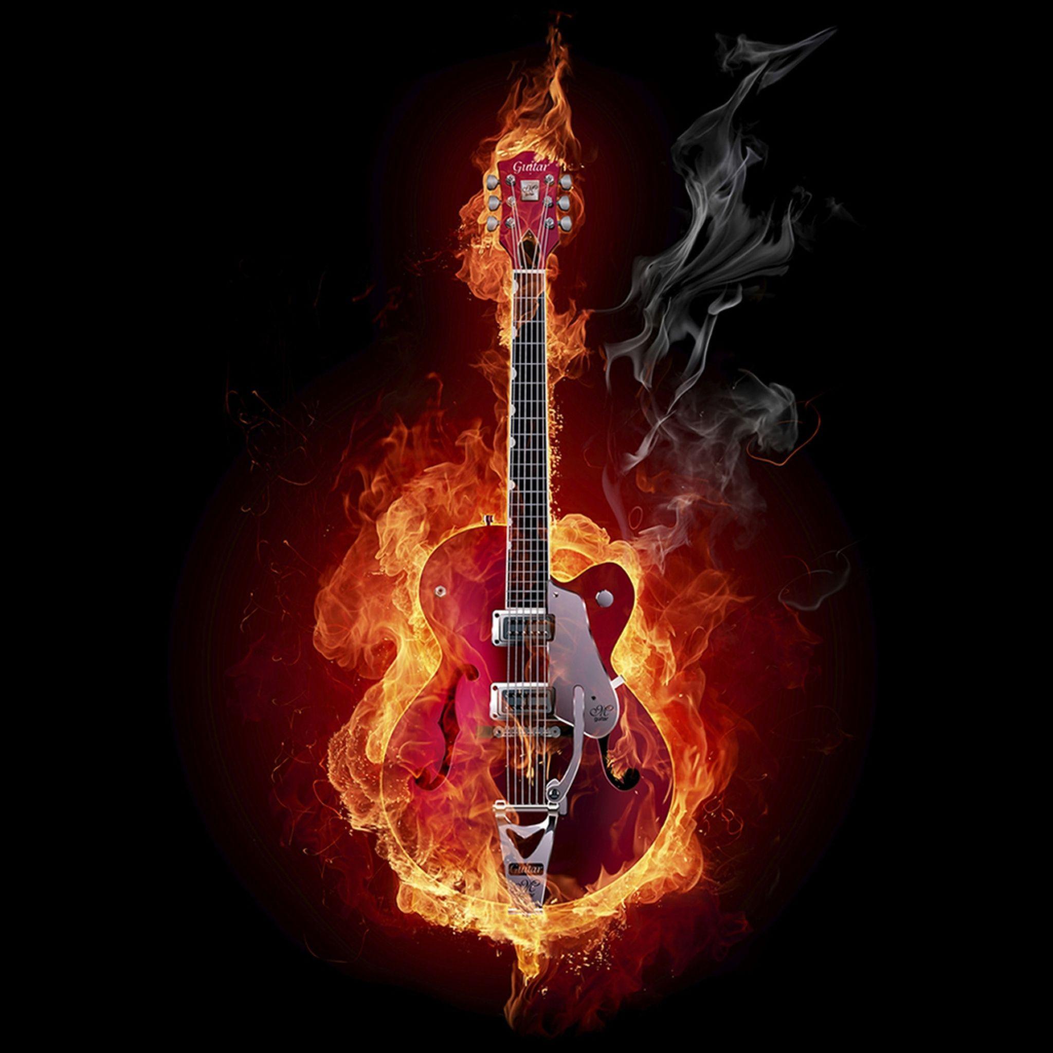 2048x2048 Wallpaper guitarra fogo instrumento fuma§a fundo