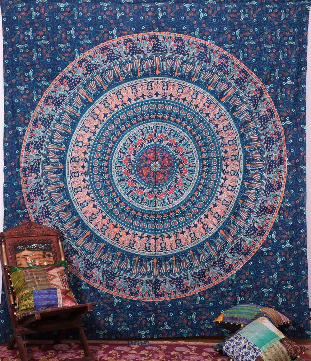 Hippie Elephant Tapestries Wall Hanging Indian